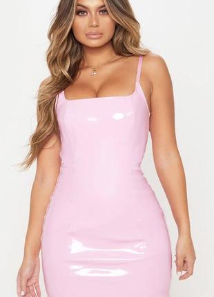 👑♥️final sale 2019 ♥️👑   латексное розовое мини платье