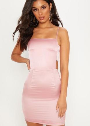 Ликвидация товара 🔥  сатиновое розовое мини платье с вырезами