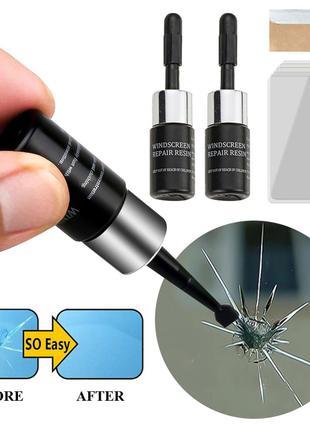 НАБОР 2в1 полимер-клей для ремонта стекол, окон авто (от сколов,т