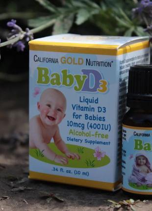 California Gold Nutrition Витамин D3 в каплях для детей. 400 М...