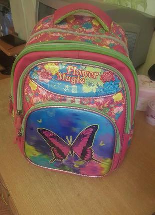 Школьный ортопедический рюкзак розово-салатовый gorangd