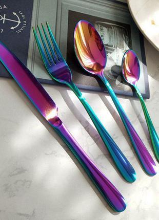 Радужные хамелеон столовые приборы : ложки, вилки, ножи, чайны...