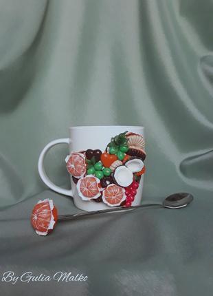 """""""Вкусная"""" чашка с декором из полимерной глины"""