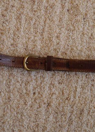 Ремень шкіряний коричневий на талію 62-86 см