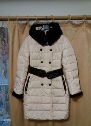 Пуховик пальто пух + мутон