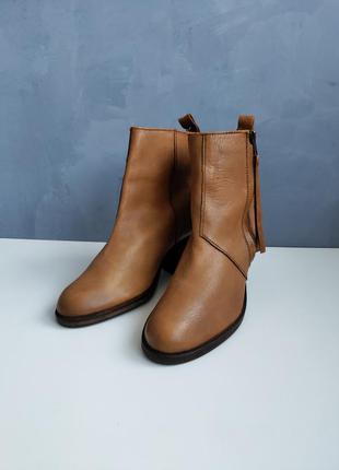 Женские кожаные рыжие ботинки челси dune london