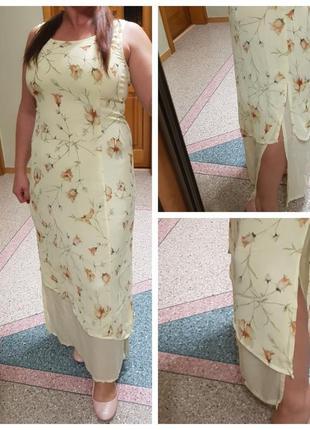 Летнее натуральное длинное платье gerry weber с разрезами по б...