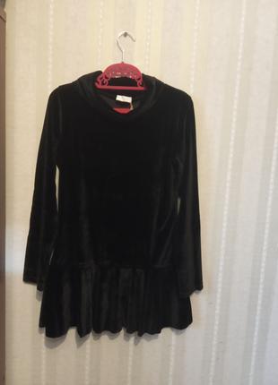 Итальянская блуза из черного велюра отличного качества недорого