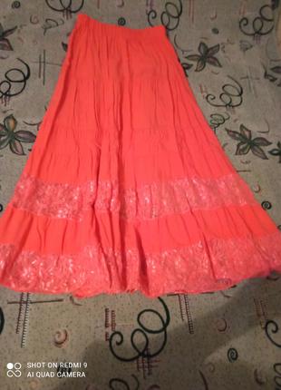 Юбка довга жіноча рожевого кольору
