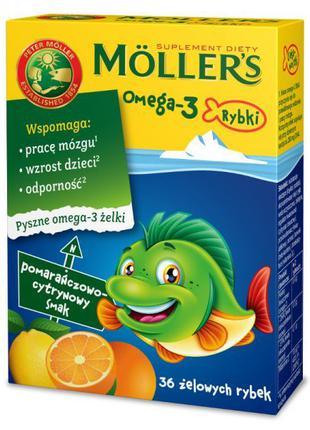 Желейные Рыбки С Омега-3 Moller`S Норвегия. Цитрусовый Вкус