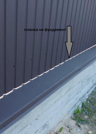 Купить планку парапета из матового метала, планка на фундамент