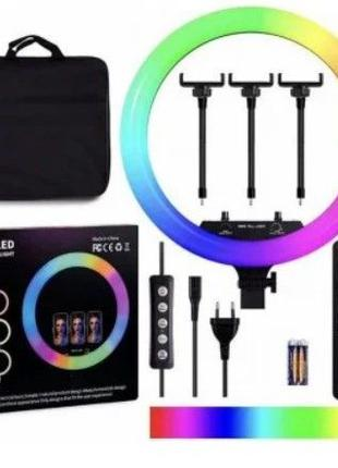 Кольцевая LED лампа цветная RGB 45 см на штативе 2м + Bl пульт