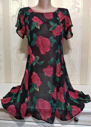 Платье прозрачное с розами