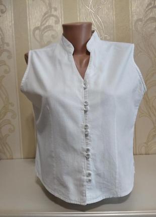 Блуза фактурная натуральная, без рукавов