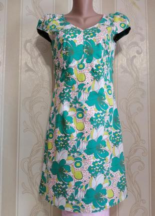 Платье приталенное, цветочный принт , италия.