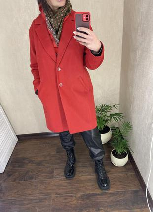 Пальто оверзайз шерсть шерстяне вільне свободное красное червоне