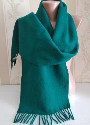 Изумрудный теплый шарф, 100% шерсть.