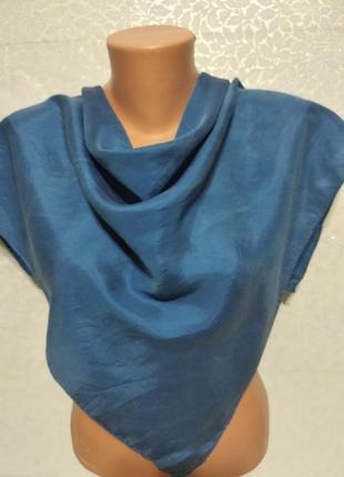 Шелковый синий платок, 71*75см