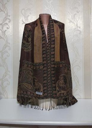 Шоколадный шарф, палантин,  шелк + шерсть.
