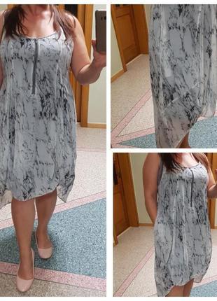 Летнее шифоновое платье с мраморным принтом  mint velvet