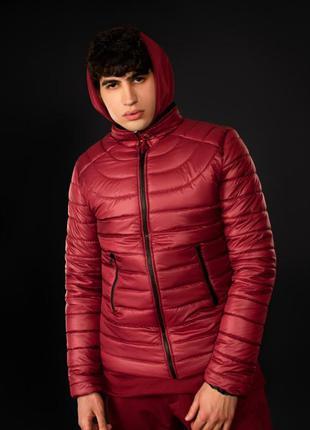 Куртка стеганная демисезонная базовая бордовая | стьобана весн...
