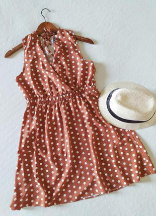 Очень красивое карамельное платье сарафан в горошек only