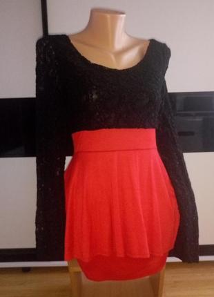 Красивое ажурное платье с баской.