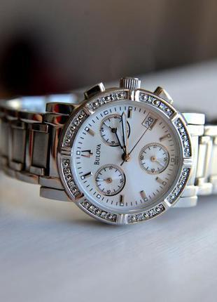 Скидка недели! женские часы хронограф с бриллиантами bulova по...