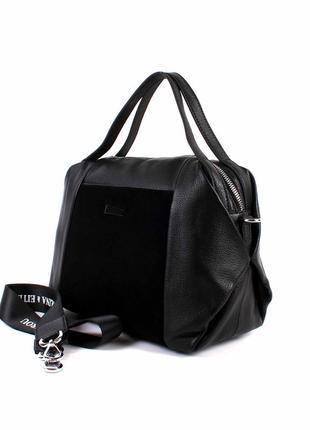 Стильная женская сумка polina&eiterou кожа черная