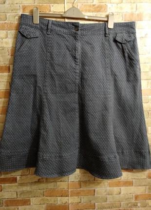 Стрейчевая джинсовая юбка в горох 20/54-56 размера