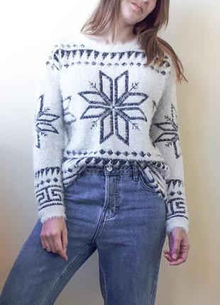#розвантажуюсь пушистый белый свитер травка cropp town в орнамент