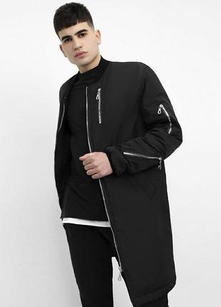 Куртка демисезонная удлиненная черная | курточка весна базова ...