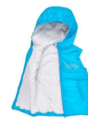 Детская жилетка для девочки, цвет бирюзовый, размер 122см