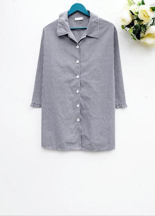 Красивая рубашка в клетку удлиненная рубашка большой размер