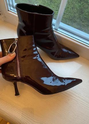 Шкіряні демі ботінки, кожаные ботинки деми, лакированные ботинки