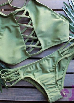 Хаки купальник раздельный с переплётом зелёный