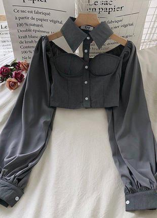 Серая блузка бюстье с чокером и широким рукавом женская блуза