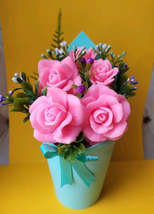 Цветы из мыла,мыло ручной работы. Букет 8 марта