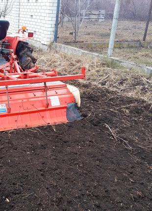 Обработка земли мини-трактором