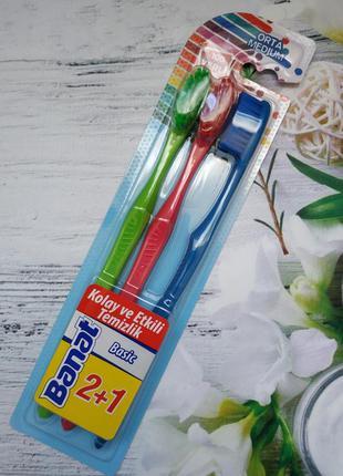 Набір зубних щіток середньої жорсткості banat, 3 шт. 12+