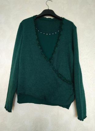 Теплый шерстяный джемпер кофта зеленого бутылочного цвета р.м,...