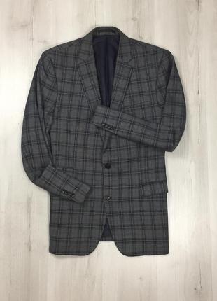 F0 пиджак приталенный клетчатый серый f&f костюм