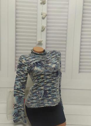 Свитер кофта джемпер свитшот пуловер  реглан белый голубой  тё...