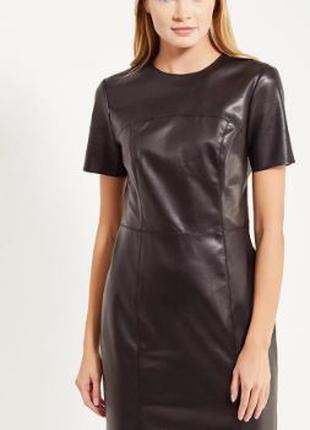 Женское платье мини, кожа, van gils, 42 ра-р. Бюджетно Черное кож