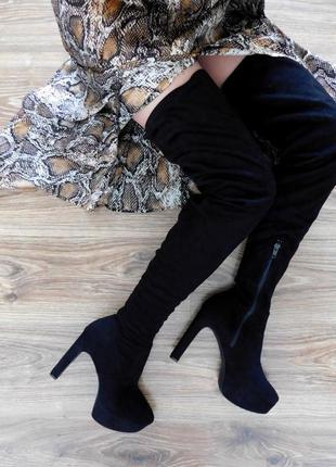 Высокие замшевые сапоги ботфорты на каблуке от h&m