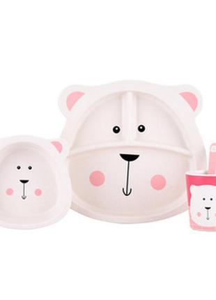 Детская бамбуковая посуда мишка умка, набор из 2-х тарелок, ча...