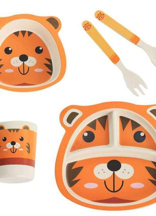 Детская бамбуковая посуда тигренок, набор из 2-х тарелок, чашк...