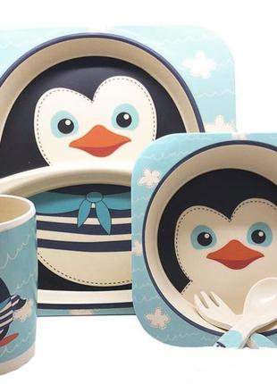 Детская бамбуковая посуда пингвинчик, набор из 3 предметов