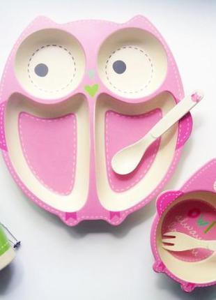 Детская бамбуковая посуда сова, набор из 5 предметов