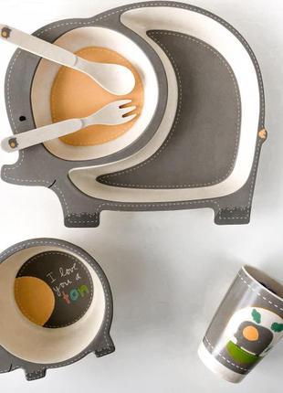 Детская бамбуковая посуда слоненок, набор из 5 предметов